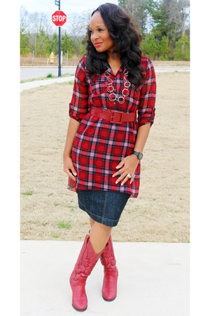 plaid Body Central top - red cowboy DSW boots - denim Ross skirt