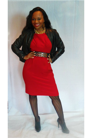 leather ANA jacket - black BCBGeneration shoes - red Karin Stevens dress