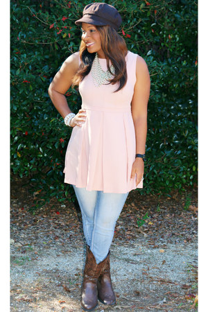pink Forever 21 top - brown Belks boots