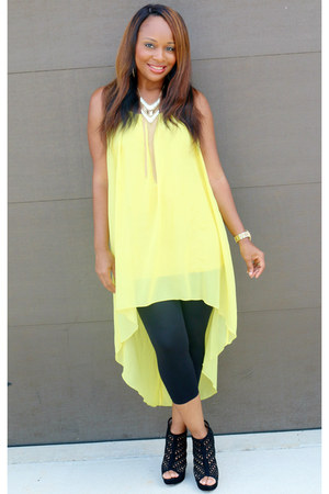 yellow Forever 21 top - black Forever 21 leggings - black Aldo heels