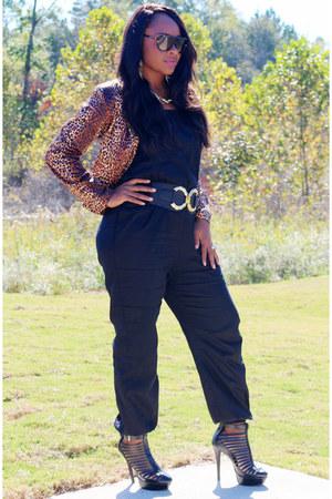 leopard print Body Central blazer - black SB Boutique heels