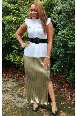 white Forever 21 blouse - gold Rue 21 skirt