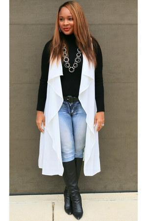 white Miss Rockwells Racks cardigan - black Nine West boots