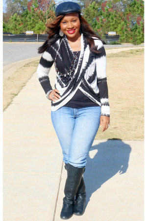 black leather vera wang boots - black and white SB Boutique top