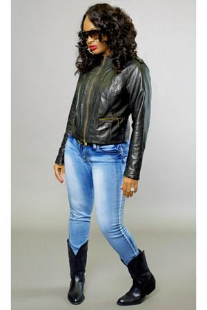 black sears jacket - black cowboy Belks boots - denim Ross jeans