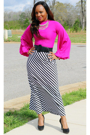 striped sears skirt - hot pink House of Chapelle blouse