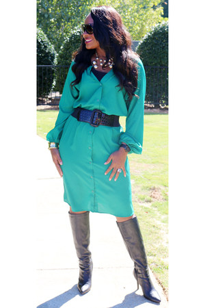 green Dillards dress - black leather Dillards boots - black Body Central belt
