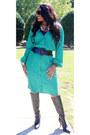 Black-leather-dillards-boots-green-dillards-dress-black-body-central-belt