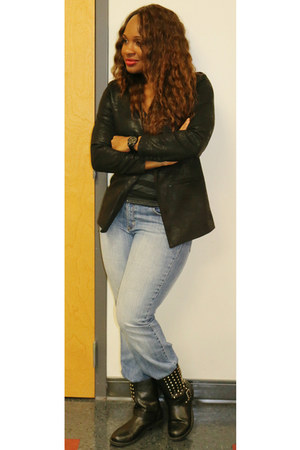 black vera wang blazer - black studded Ross boots - gray Walmart t-shirt