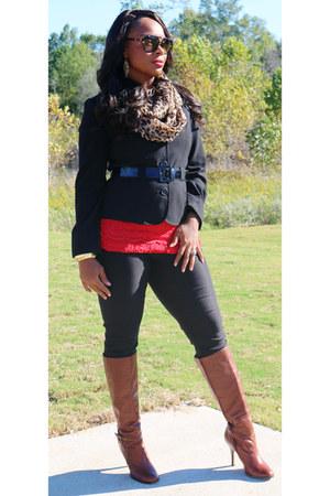 black kohls blazer - leather gianni bini boots - leopard print Walmart scarf