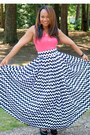 Coral-coral-sears-top-black-chevron-pattern-sb-boutique-skirt