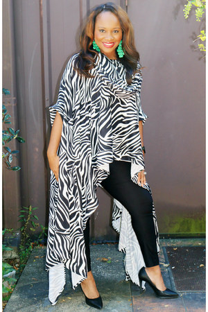 black calvin klein pants - zebra print SB Boutique top