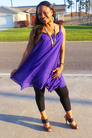 vera wang heels - purple Ross dress - black Charlotte Russe leggings