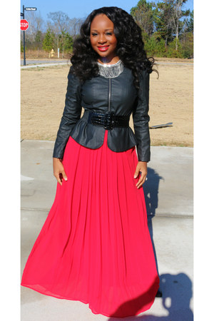 red Dillards skirt - black Nine West boots - faux leather Body Central blazer