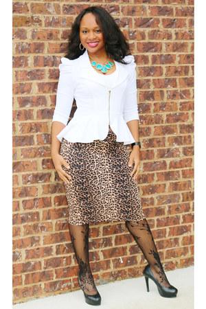 leopard Ross skirt - black Dillards shoes - white SB Boutique blazer