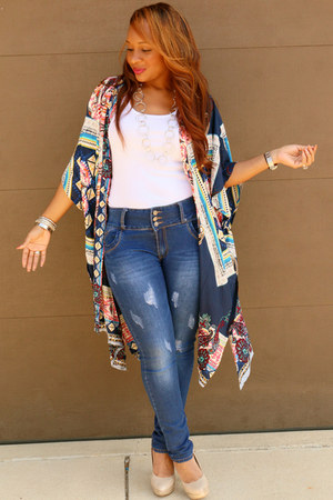 denim Trish M Fashions jeans - blue multi Trish M Fashions top