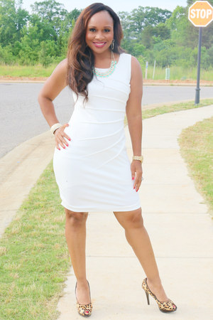 white calvin klein dress - leopard print my shoes heels
