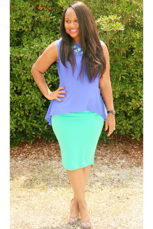 blue blue kohls top - turquoise blue green sears skirt