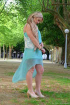 cream tan Fridays Project scarf - light blue asymmetrical Fridays Project dress