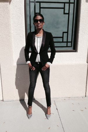 Forever 21 blazer - H&M jeans - QMack blouse