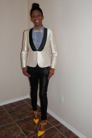 silk Jcrew blazer - denim JCrew shirt - faux leather Forever 21 pants