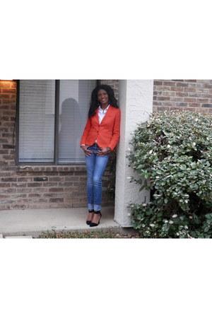 carrot orange J Crew blazer - Target jeans