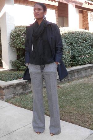 black Zara coat - black Forever 21 scarf - charcoal gray JCrew pants