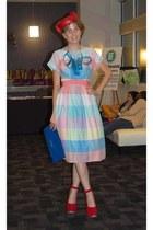 vintage dress - vintage hat - vintage bag - Luichiny heels - DIY necklace