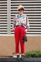 vintage bag - Sam and Libby boots - vintage pants - thrifted vintage blouse