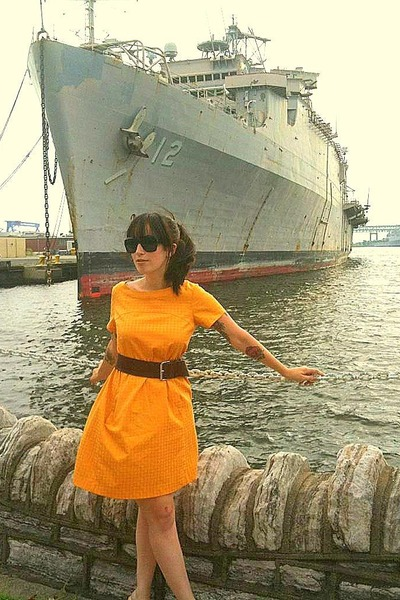 yellow vintage dress - brown Divided belt - white thrifted shoes - black Urban O