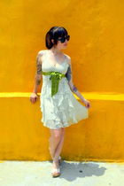 white vintage BCBG dress - white thrifted shoes - black Urban Outfitters sunglas
