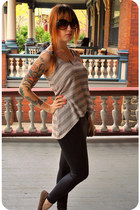 black leatherette American Apparel leggings - dark brown tortoise shell Forever