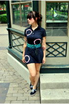 black American Apparel dress - green vintage belt - black Urban Outfitters shoes