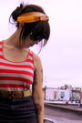 Red-forever-21-top-black-american-apparel-skirt-yellow-old-navy-belt-yello