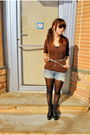Brown-so-what-cardigan-blue-abercrombie-fitch-shorts-white-thrifted-belt-