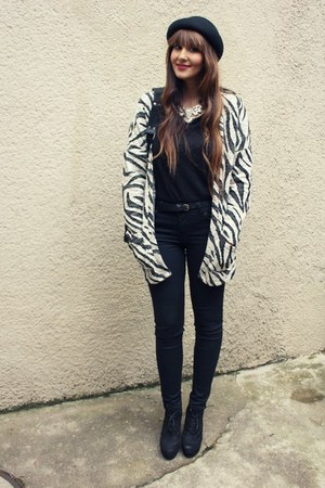 Stradivarius cardigan - H&M hat - Pimkie necklace - asos pants