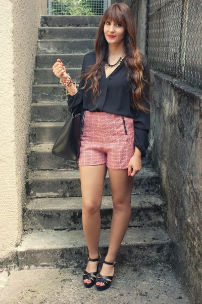 Primark shorts - Spartoo shoes - Zara bag - Primark blouse