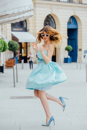 sky blue Sinéquanone dress - sky blue Zara heels