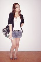 black Hip Culture blazer - white top - blue shorts - black bag - gray shoes - bl
