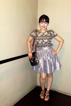 blue moms vintage blouse - beige designed by me alexander & coco by cheena skirt