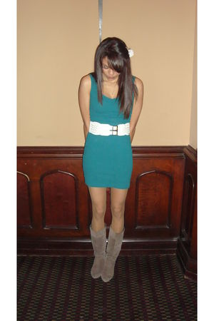 blue thrifted Value Village dress - white Urban Behaviour belt - brown Aldo boot