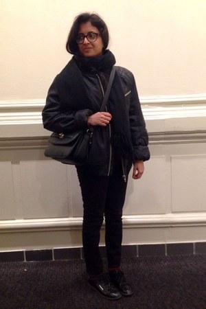 black bomber jacket unknown jacket - black unknown scarf - black bag