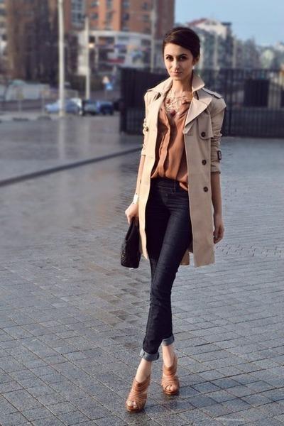 MAC coat coat - Topshop shoes - Topshop jeans - H&M purse - H&M blouse