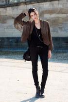 black Topshop boots - Topshop jeans - Zara jacket - asos bag