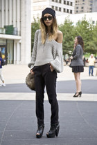 Zara bag - leather heels Underground shoes - wooly Zara top