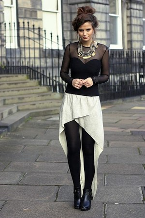 leather Topshop shoes - Primark tights - Topshop top - suede Topshop skirt