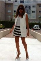 asos shorts - white Sheinside vest - Zara sandals