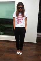 white DNA the shop t-shirt - black Forever 21 pants