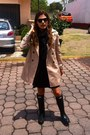 Black-rainboots-boots-black-urban-outfitters-dress-tan-trench-coat