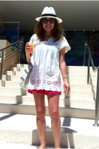 panama J Crew hat - hot pink Gap shorts - white Queens Wardrobe blouse